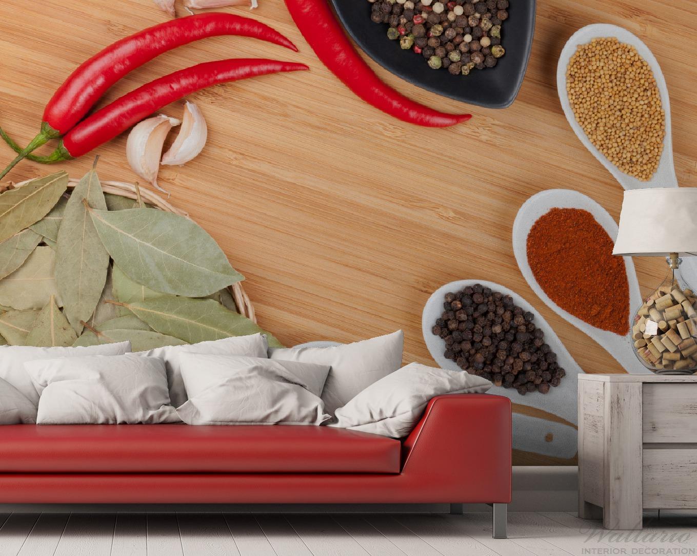 vliestapete gew rze und kr uter auf l ffeln und in schalen tapeten vliestapeten k che genuss. Black Bedroom Furniture Sets. Home Design Ideas