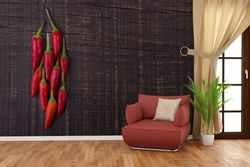 Vliestapete Rote Paprikaschoten auf einem dunkelbraunem Holzbrett – Bild 4