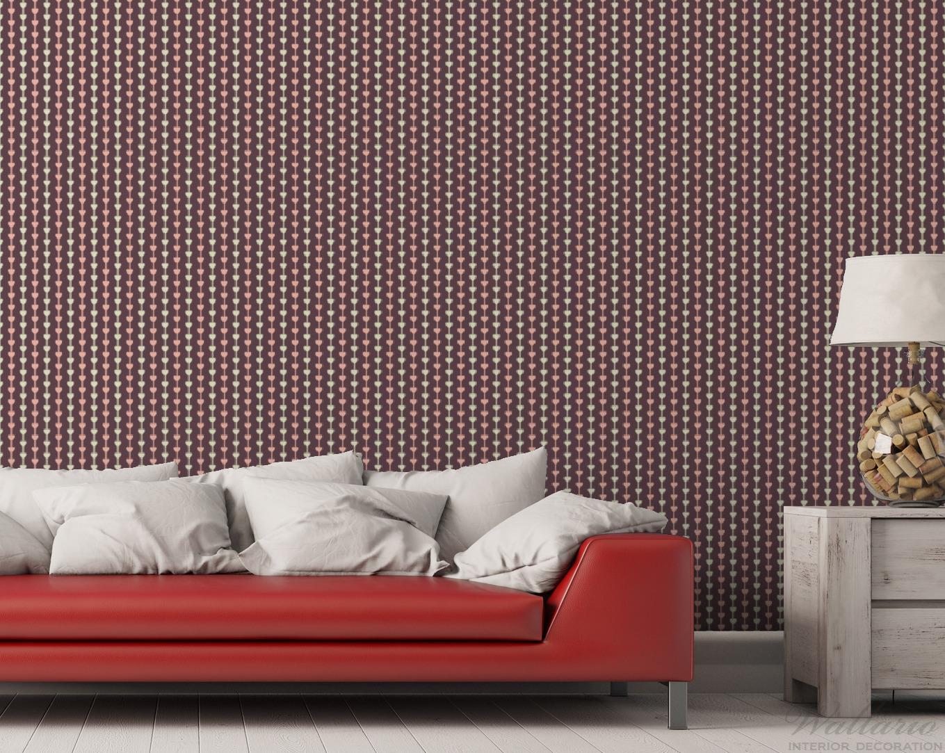 Vliestapete Muster Herzen in beig und rosa in Reih und Glied – Bild 3
