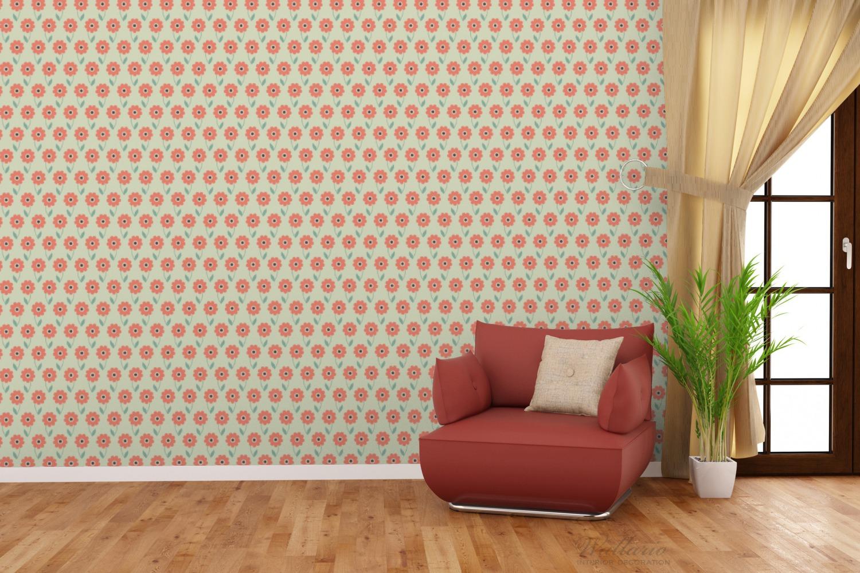 Vliestapete Muster mit roten Blumen und grünen Blättern – Bild 4