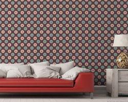 Vliestapete Muster mit grünen und rosa-farbenen Blüten – Bild 3