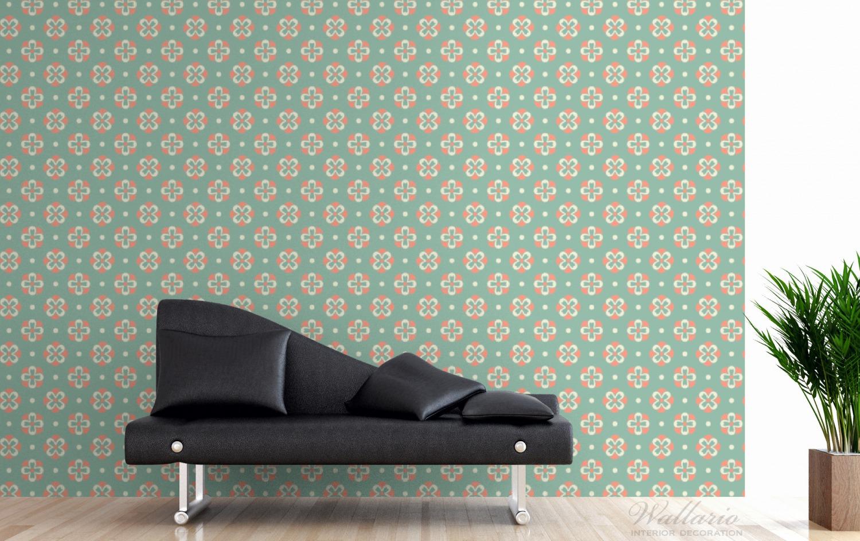 Vliestapete Muster in rot weiß auf grün - Blütenblätter – Bild 3