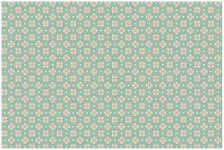 Vliestapete Muster in rot weiß auf grün - Blütenblätter – Bild 1