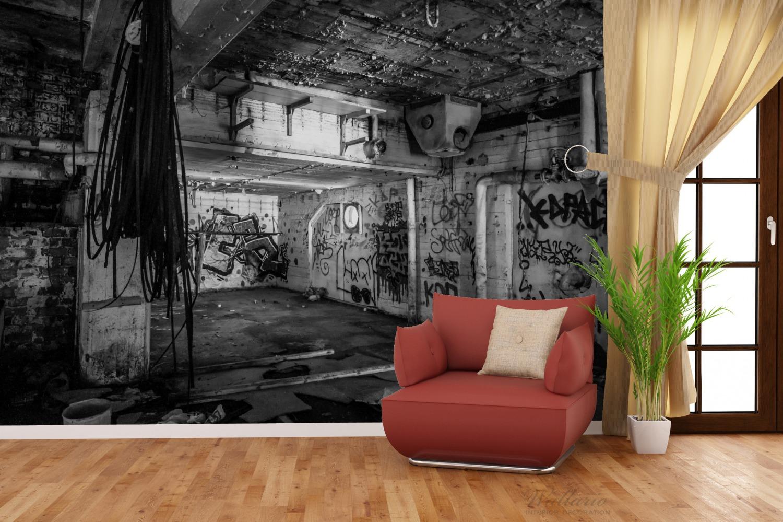 Vliestapete Alte verlassene Fabrik in schwarz weiß mit Graffiti – Bild 3