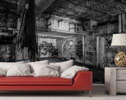 Vliestapete Alte verlassene Fabrik in schwarz weiß mit Graffiti – Bild 4