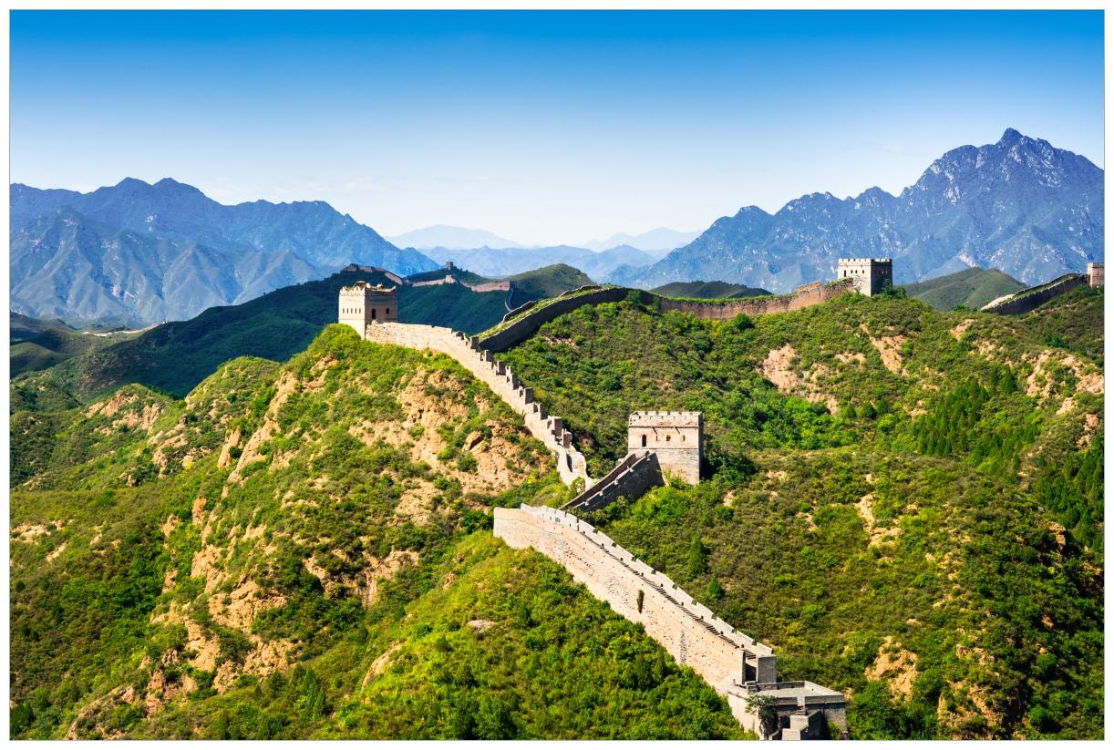 Vliestapete Die Chinesische Mauer - Wahrzeichen in China im Sommer – Bild 1