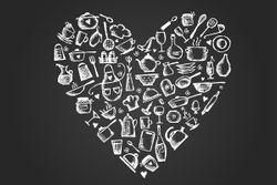 Vliestapete I Love Cooking - Herz aus Küchenutensilien in schwarz weiß – Bild 1
