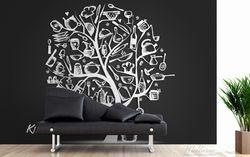 Vliestapete Kitchen Utensils - Baum aus Küchenutensilien in schwarz weiß – Bild 3
