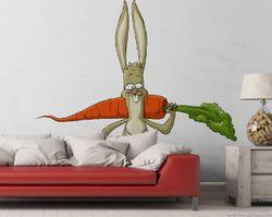Vliestapete Lustiger Hase mit Möhre im Comic Stil – Bild 2