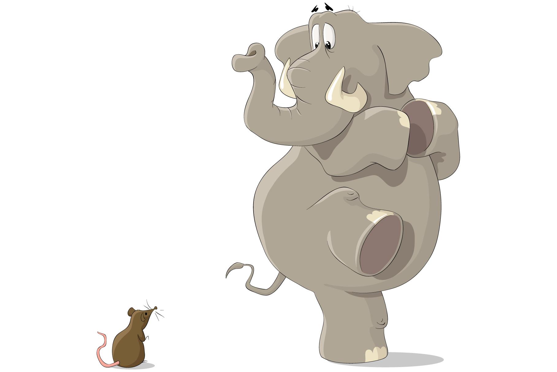 Vliestapete Elefant erschrickt vor Maus – Bild 1