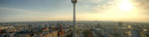 Küchenrückwand Fernsehturm Berlin mit Panoramablick über die Stadt