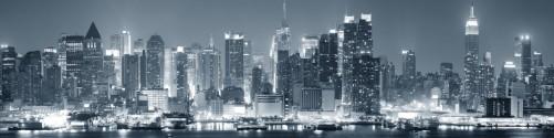 Küchenrückwand New York Skyline - Schwarz Weiß Blau