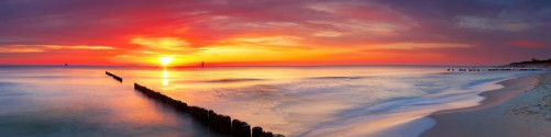 Küchenrückwand Farbenspiel im Himmel - Sonnenuntergang am Strand