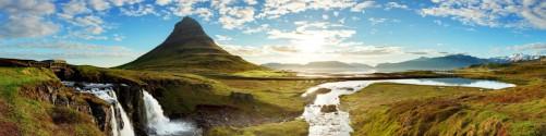 Küchenrückwand Island Panorama Fluss  Berge und blauer Himmel