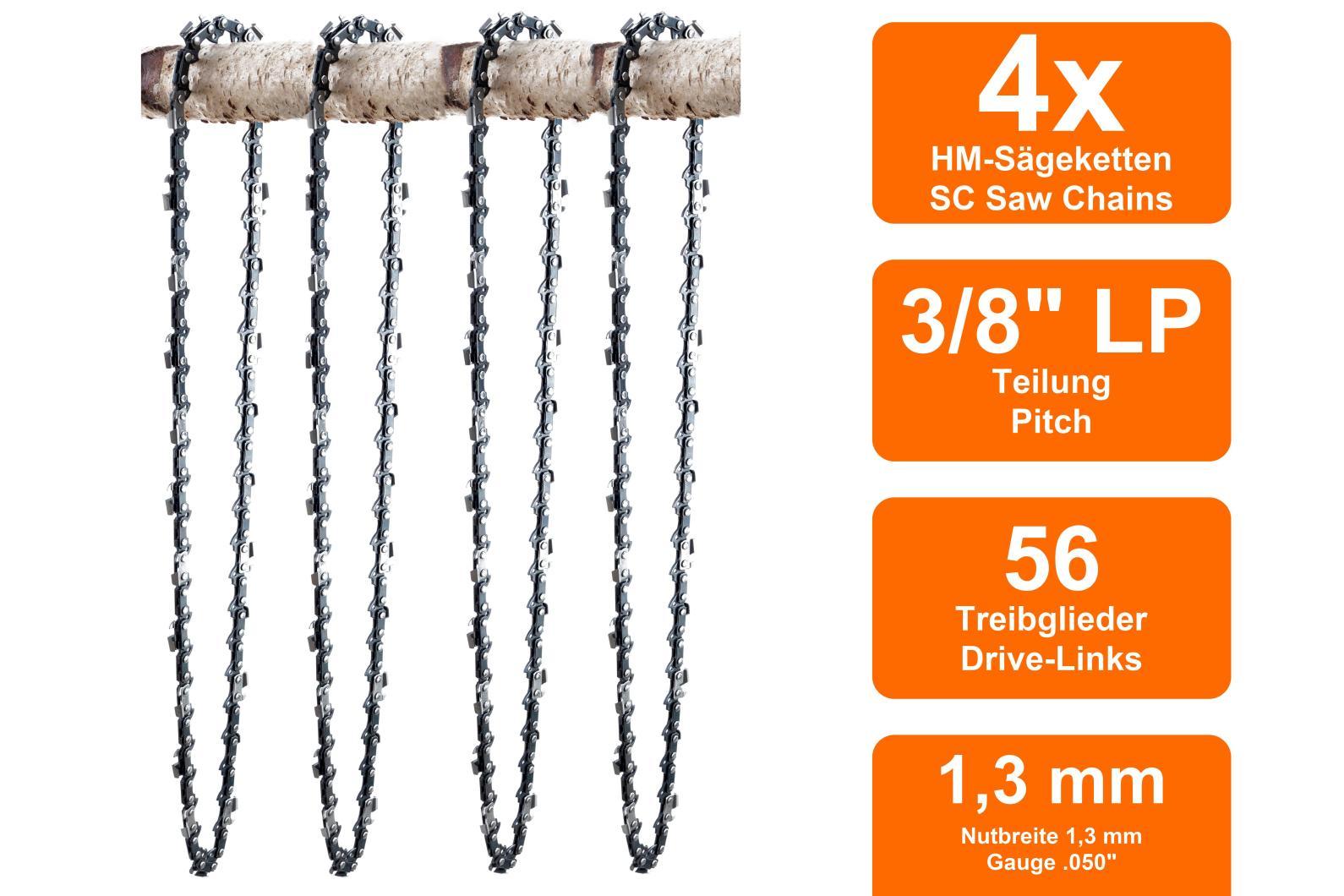 """Schwert 2 Ketten passend für Dolmar 105 40 cm 3//8/"""" 56 TG 1,3mm Sägekette chain"""