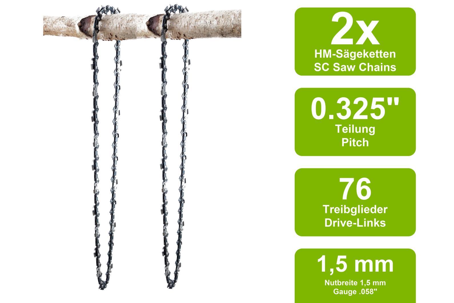 2x SECURA Sägeketten 0.325-1,5mm 76TG 50cm Husqvarna Timberpro Timbertech