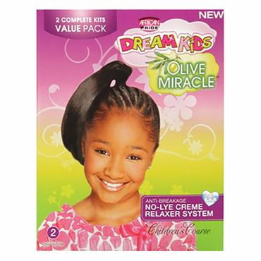 African Pride Dream Kids Olive Miracle - Children's COARSE Anti-Breakage No-Lye Creme Relaxer System 2 Pack