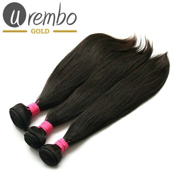 3er Pack: Urembo Gold 100% Brazilian Remy Human Hair Extension Natural Straight Weave / Tressen 3er Set je 95-100g Echthaar
