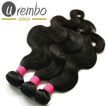 3er Pack: Urembo Gold 100% Brazilian Remy Human Hair Extension Body Wave Weave / Tresse 3er Set je 95-100g Echthaar