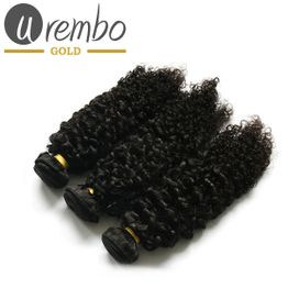 3er Pack: Urembo Gold 100% Brazilian Remy Human Hair Extension Bohemian (Kinky Curly) Weave / Tresse 3er Set je 95-100g Echthaar