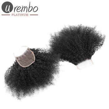 Urembo Platinum 100% Brazilian Virgin Remy Human Hair 4''x4'' 10x10cm Top Closure AFRO KINKY CURLY brasilianisches Echthaar Closure