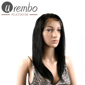 Urembo Platinum Lace Front Wig - 100% Brazilian Virgin Remy Human Hair Natural Straight 16 Inch 40cm Echthaar Perücke