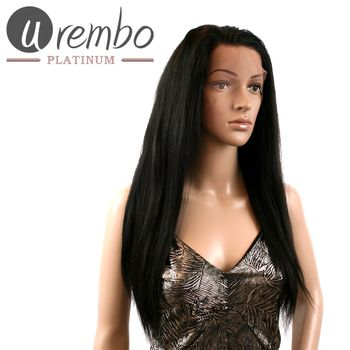 Urembo Platinum Full Lace Wig - 100% Brazilian Virgin Remy Human Hair Natural Straight 18 Inch 45cm Echthaar Perücke