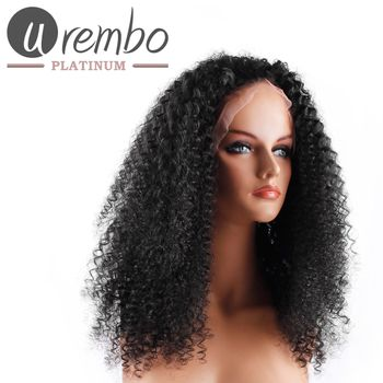 Urembo Platinum Lace Front Wig - 100% Brazilian Virgin Remy Human Hair Malaysian Curl 18 Inch 45cm Echthaar Perücke