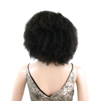 Urembo Platinum Lace Front Wig - 100% Brazilian Virgin Remy Human Hair Bohemian Kinky Curl 14 Inch 35cm Echthaar Perücke