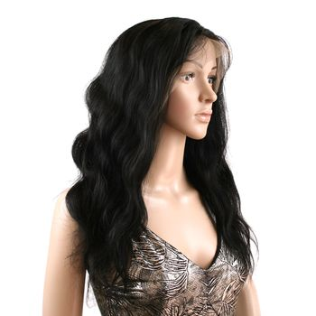 Urembo Platinum Lace Front Wig - 100% Indian Virgin Remy Human Hair Body Wave 18 Inch 45cm Echthaar Perücke