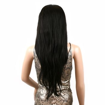 Urembo Platinum Lace Front Wig - 100% Brazilian Virgin Remy Human Hair Natural Straight 22 Inch 55cm Echthaar Perücke
