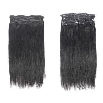 Urembo Platinum 7 Piece Clip-in Extension - 100% Indian Virgin Remy Human Hair Natural Straight Echthaar