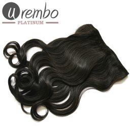 Urembo Platinum 1 Piece Clip-in Extension - 100% Brazilian Virgin Remy Human Hair Natural Straight 16 Inch 40cm Echthaar