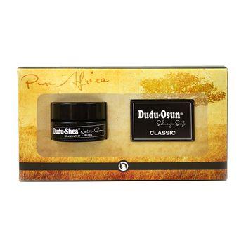 Geschenkset - Dudu-Osun CLASSIC - Original Schwarze Seife aus Afrika - Original Black Soap 25g + Dudu-Shea 100% reine Sheabutter Natur-Creme 15ml