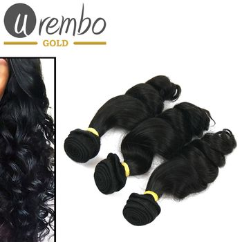3er Pack: Urembo Gold 100% Brazilian Remy Human Hair Extension Loose Wave Weave / Tresse 3er Set je 95-100g Echthaar