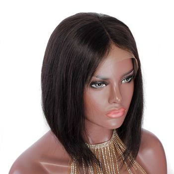 Urembo Platinum Lace Front Wig - 100% Indian Virgin Remy Human Hair Bob RiRi Echthaar Perücke