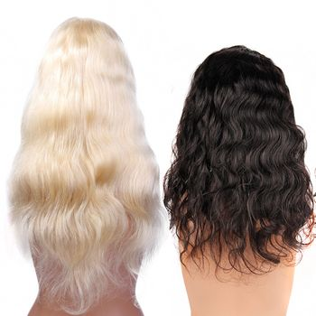 Urembo Platinum Full Lace Wig - 100% Indian Virgin Remy Human Hair Body Wave Echthaar Perücke