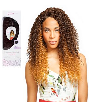 Feme Collection - Premium Blended - Kinky Curl - ONE PACK SOLUTION Tresse Human Hair Blend Weave