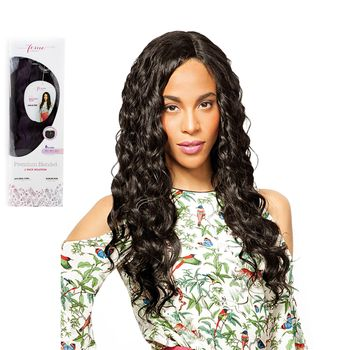 Feme Collection - Premium Blended - Natural Curl - ONE PACK SOLUTION Tresse Human Hair Blend Weave