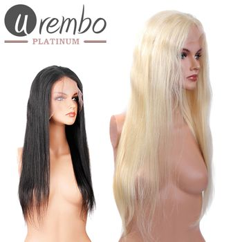 Urembo Platinum Full Lace Wig - 100% Indian Virgin Remy Human Hair Natural Straight Echthaar Perücke