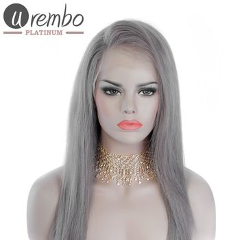Urembo Platinum Lace Front Wig - Graue 100% Indian Virgin Remy Human Hair Natural Straight Echthaar Perücke