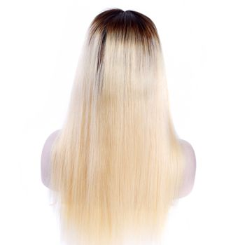 Urembo Platinum Full Lace Wig - OMBRE Blonde 100% Indian Virgin Remy Human Hair Natural Straight Echthaar Perücke