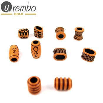 Urembo Gold Wooden Hair Beads with African patterns Haarperlen aus Holz mit afrikanischen Mustern