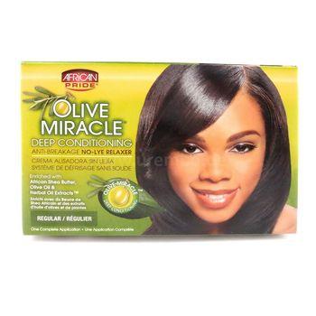 African Pride Olive Miracle Deep Conditioning Anti-Breakage No-Lye Relaxer Kit REGULAR Haarglättungsmittel-System