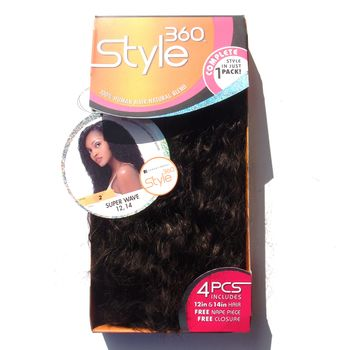 Sensationnel Style 360 - SUPER WAVE 12',14' ONE PACK complete 4 pieces Tresse Human Hair Blend Weave