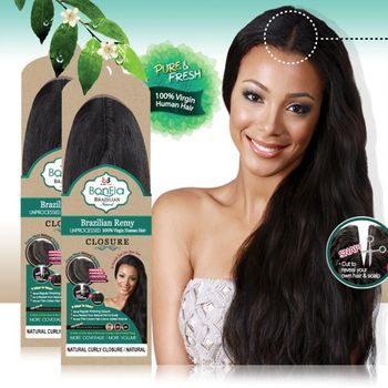 Bobbi Boss BonEla - Brazilian Remy CURLY UNPROCESSED Echthaar Closure 100% Human Hair