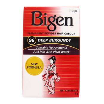 Bigen Dye Permanent Powder Hair Colour 96 Deep Burgundy Puder Haarfarbe Dunkel Burgund