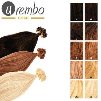 Urembo GOLD Keratin Bonding U-tip/Nail-tip Extensions 100% Remy Echthaarsträhnen Haarverlängerung (50x Strähnen 50cm à 0,5g)