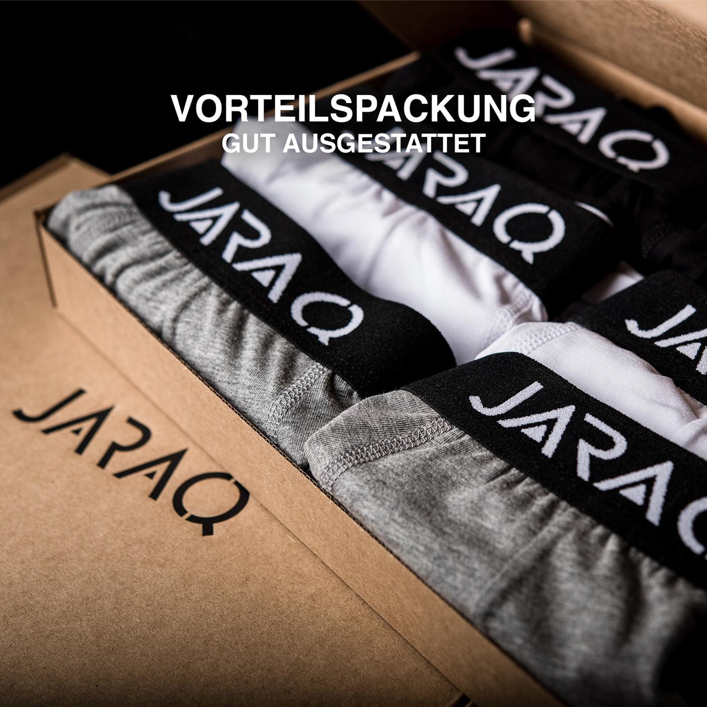 JARAQ Boxershorts Herren Baumwolle 6er Pack Schwarz
