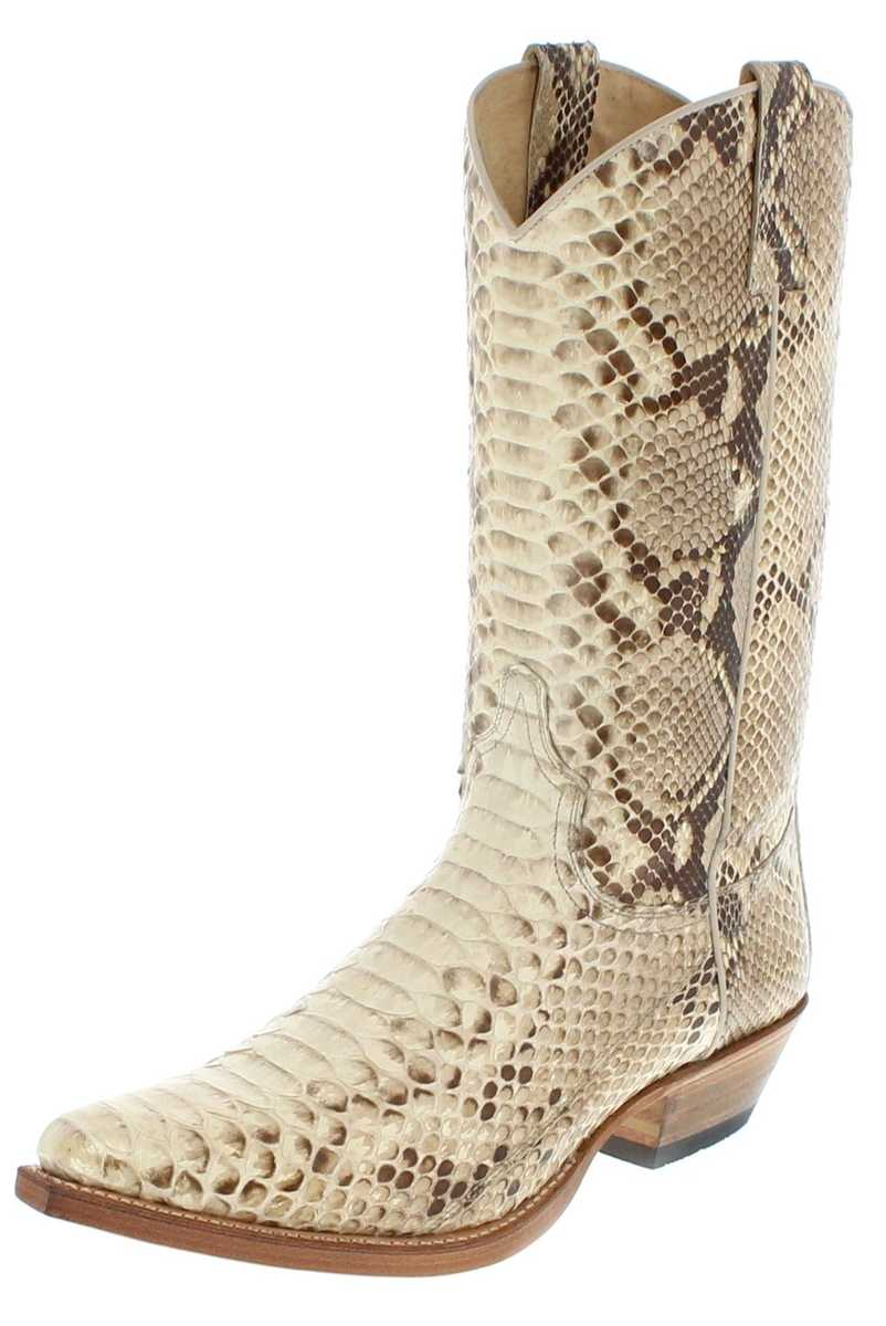 Sendra Boots 2966P Exotic-Western boot made of full python skin - natural